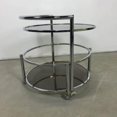 Chrome and Smoked Glass Rolling Dry Bar - 219274