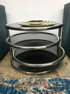 Chrome smoked glass 3 tier end table - 1004639