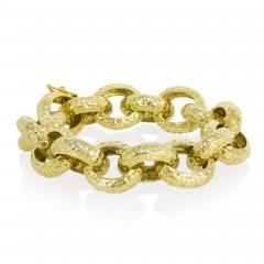 Chunky gold hammered bracelet - 1854351