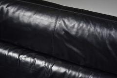 Cini Boeri Black Leather Italian design Cini Boeri Brigadier loveseats for Knoll 1980s - 2019227