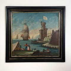 Circa 1600 View of a Harbor in Large Frame Spain - 2028643