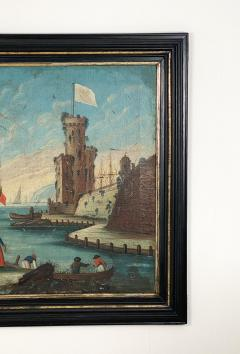Circa 1600 View of a Harbor in Large Frame Spain - 2028644