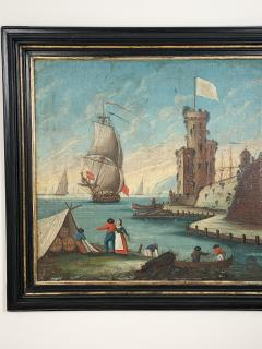 Circa 1600 View of a Harbor in Large Frame Spain - 2028645