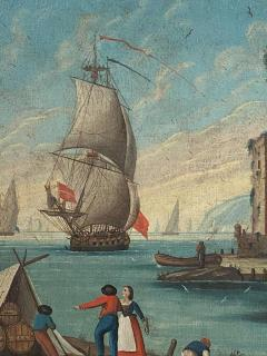 Circa 1600 View of a Harbor in Large Frame Spain - 2028646