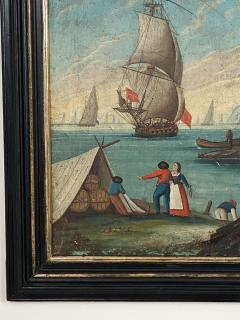 Circa 1600 View of a Harbor in Large Frame Spain - 2028647