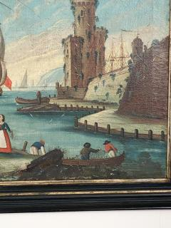 Circa 1600 View of a Harbor in Large Frame Spain - 2028648
