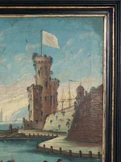 Circa 1600 View of a Harbor in Large Frame Spain - 2028649