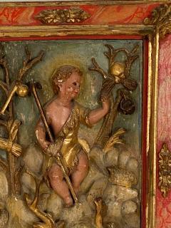 Circa 1750 Spanish Polychrome Wood Carving of St John - 2031894