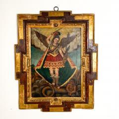 Circa 1800 Spanish Colonial Painting of Archangel Demon - 2019394