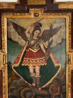 Circa 1800 Spanish Colonial Painting of Archangel Demon - 2019395