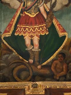 Circa 1800 Spanish Colonial Painting of Archangel Demon - 2019397