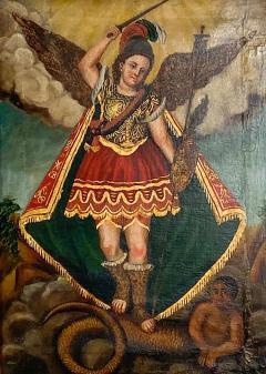 Circa 1800 Spanish Colonial Painting of Archangel Demon - 2021112