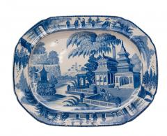Circa 1820 Large Blue and White Platter in the Chinese Style England - 2135593