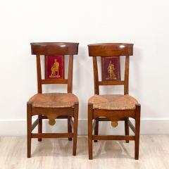 Circa 1820 Tole Panel Chairs A Pair - 2007237