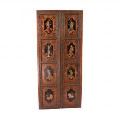 Circa 1830 Painted Indian Palace Doors A Pair - 2145217