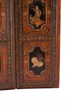 Circa 1830 Painted Indian Palace Doors A Pair - 2145219