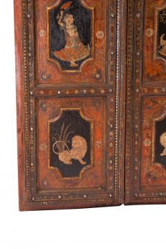 Circa 1830 Painted Indian Palace Doors A Pair - 2145220