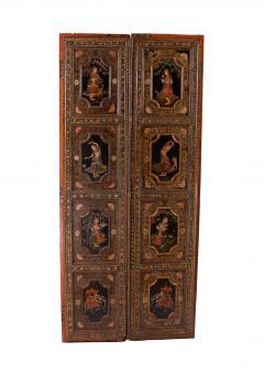 Circa 1830 Painted Indian Palace Doors A Pair - 2145221