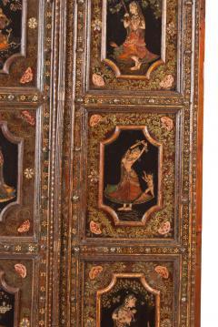 Circa 1830 Painted Indian Palace Doors A Pair - 2145222