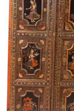 Circa 1830 Painted Indian Palace Doors A Pair - 2145223