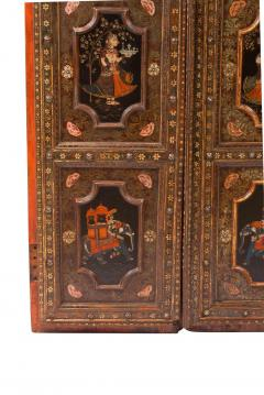Circa 1830 Painted Indian Palace Doors A Pair - 2145224