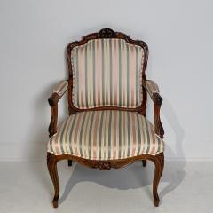 Circa 1870 Louis XV Style Walnut Open Armchair France - 2066915