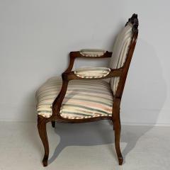 Circa 1870 Louis XV Style Walnut Open Armchair France - 2066917