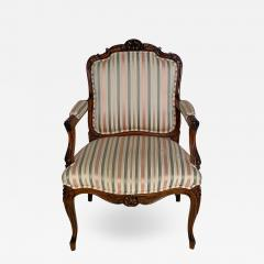 Circa 1870 Louis XV Style Walnut Open Armchair France - 2068787