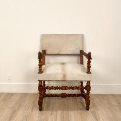 Circa 18th Century Baroque Walnut Armchair Italy - 1935463