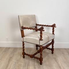 Circa 18th Century Baroque Walnut Armchair Italy - 1935464