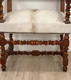 Circa 18th Century Baroque Walnut Armchair Italy - 1935467