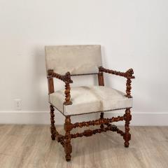 Circa 18th Century Baroque Walnut Armchair Italy - 1935468