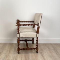 Circa 18th Century Baroque Walnut Armchair Italy - 1935470