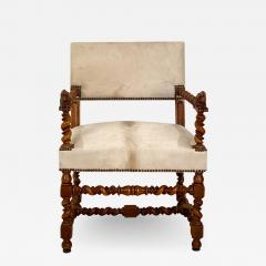 Circa 18th Century Baroque Walnut Armchair Italy - 1937404