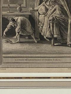Circa 18th Century La Chate Metamorphosee En Femme Engraving France - 1855756
