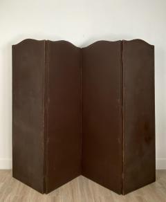 Circa 1900 4 Panel Leather Screen Spain - 1951997