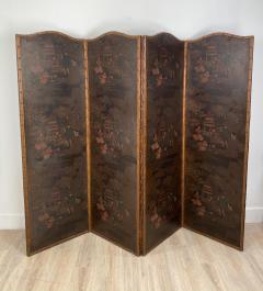 Circa 1900 4 Panel Leather Screen Spain - 1951998