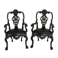 Circa 1900 Baroque Revival Green Armchairs Portugal A Pair - 1862858