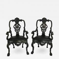 Circa 1900 Baroque Revival Green Armchairs Portugal A Pair - 1864170