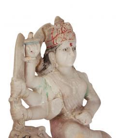 Circa 1900 Marble Statue of a Deity Riding a Lion India - 2134214