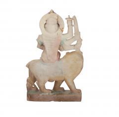 Circa 1900 Marble Statue of a Deity Riding a Lion India - 2134217