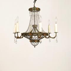 Circa 1900 Tole and Gilt Pendant Chandelier Italy - 1902833