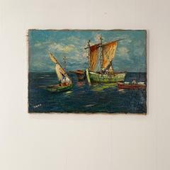 Circa 1950 Trade Ships Oil on Canvas Italy - 1792723