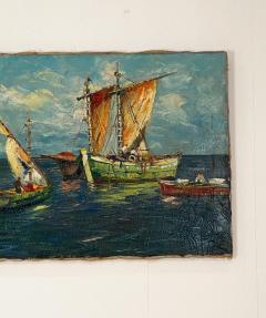 Circa 1950 Trade Ships Oil on Canvas Italy - 1792725