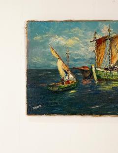Circa 1950 Trade Ships Oil on Canvas Italy - 1792726