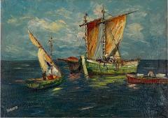Circa 1950 Trade Ships Oil on Canvas Italy - 1792968