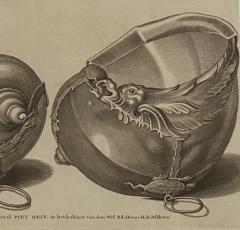 Circa 19th Century Baroque Sea Shell Drinking Cups Engraving - 1849695