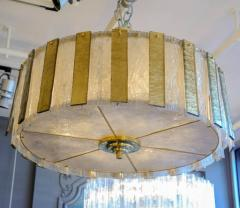 Circular Brass Chandelier with Murano Glass Panels - 716274