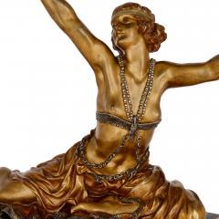 Claire Jeanne Roberte Colinet Art Deco gilt bronze sculpture of the Theban Dancer by CJR Colinet - 1433247