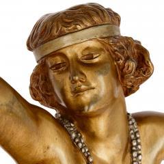 Claire Jeanne Roberte Colinet Art Deco gilt bronze sculpture of the Theban Dancer by CJR Colinet - 1433248